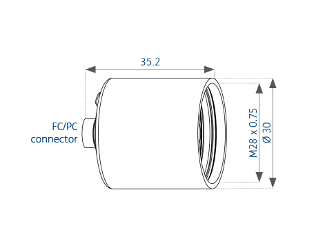 Technical dimensions of the fiber collimator a|AspheriColl