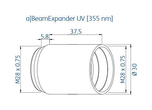 Technical dimensions of asphericon's beam expander for the wavelength 355 nm