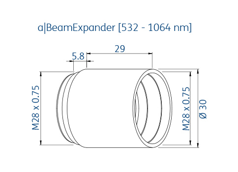 Technical dimensions of asphericon's beam expander for the wavelength range 500 – 1600 nm